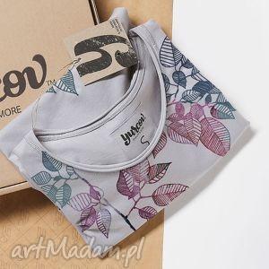 LEAVES koszulka szara oversize, flower, kwiaty, ornament, dekolt, nadruk
