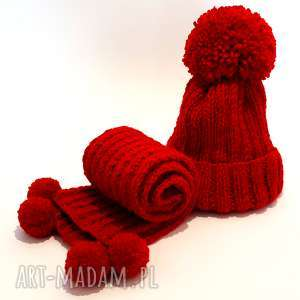 handmade dziecięcy komplet wełniany czapka szalik, czapka, szalik, pompony