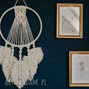 dekoracje makrama - liście, makrama, dekoracje, boho, łapacz, obraz, świąteczny