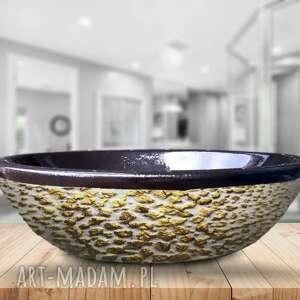 gliterra - artystyczna umywalka nablatowa ze złotą strukturą, ekskluzywna