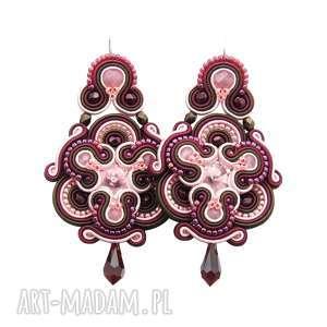 kolczyki divine maroon soutache, sutasz, ekskluzywne, długie, orientalne