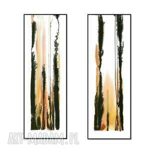 ręcznie malowane akwarele - zestaw 2 abstrakcji x 95cm 33cm