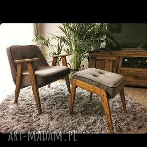 komplet fotel 366 chierowski i podnóżek aga, fotel, prl, podnóżek, meble