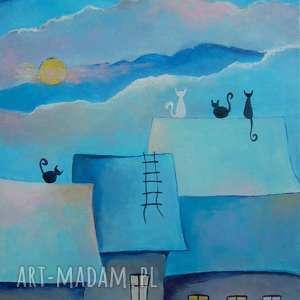 Obraz na płótnie - ABSTRAKCJA Z KOTAMI 40/30 cm, abstrakcja, niebieski, akryl, koty