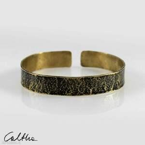 kamień - mosiężna bransoleta 202209-02, bransoletka, bransoleta, mosiężna, złota