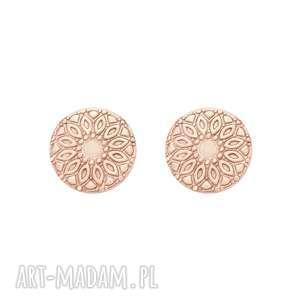 kolczyki medaliony z różowego złota - różowe kolczyki