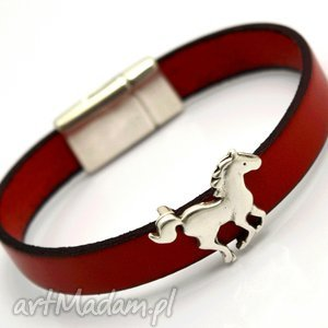 bransoletka skóra MAGNETOOS HORSE II red, bransoletka, skóra, magnes, magnetyczne
