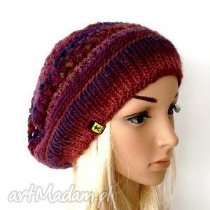 beret ażurowy we fioletach - beret, czapka, czapeczka, ażur, lekki, ciepły