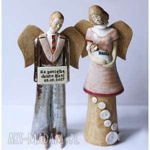 ręcznie zrobione ceramika aniołowie chrzestni z tabliczką