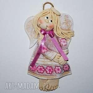 joluśka - aniołek - anioł, prezent, ozdoba, kwiaty, paski, dziewczynka