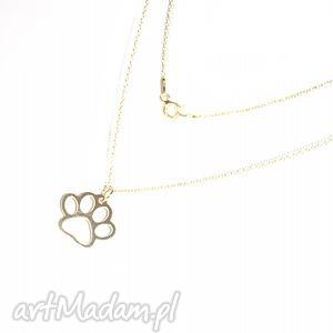 Delikatny naszyjnik łapka, łańcuszek, łapa, pies, złoto, charms, modny