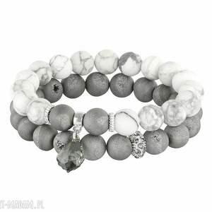 ręcznie zrobione bransoletki sada 2 - grey & white. L212
