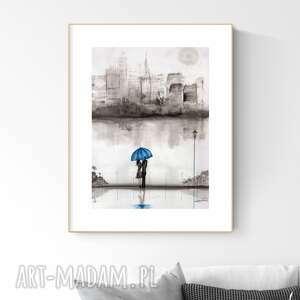 Grafika 29x40 cm wykonana ręcznie, abstrakcja, obraz do salonu