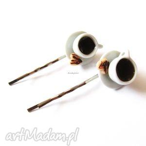 handmade ozdoby do włosów wsuwki filiżanka z kawą