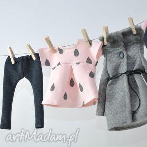 zestaw szary płaszczyk, ubranka, lalki, legginsy, czapka