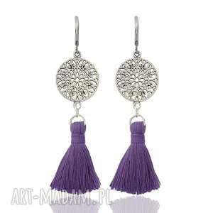 ilovehandmade kolczyki z chwostami boho rozetki - purple srebrne, styl