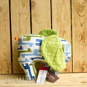 Prezent Mięciutki słonik - minky bawełna zielone żyrafy, zabawka, pluszak, prezent