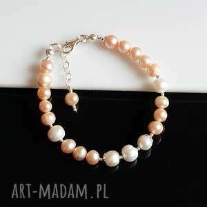 perły hodowlane - bransoletka, perły, srebro