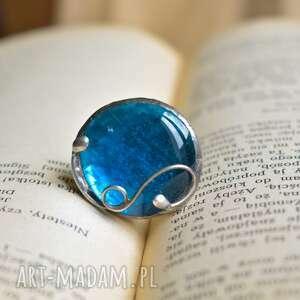 Ocean - duży pierścionek ze szkłem pracownia miedzi pierścionek