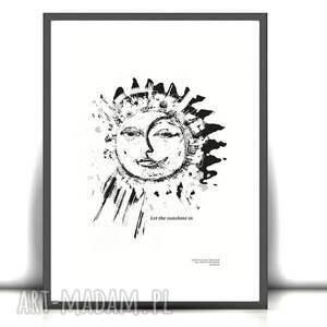 21x30 biało czarna grafika księżyc i słońce,ładny plakat do sypialni,biało czarny