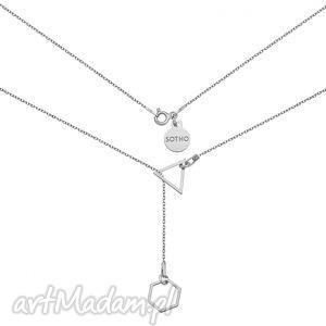 sotho srebrny regulowany naszyjnik z sześciokątem i trójkatem, modny, srebro