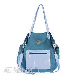na ramię torba damska w kolorze morskim z kieszonką, torebka-dmska