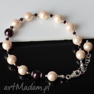 Perły bransoletka, perłyseashell, srebro, elegancka, delikatna, bransoletka