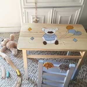 pokoik dziecka stolik i krzesełko dla dziec i - maluch miś szary, meble dzieciece
