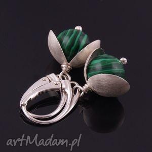 zielone kolczyki z malachitu - biżuteria, srebro