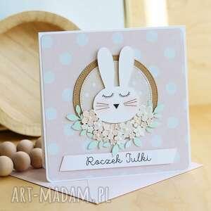 scrapbooking kartki kartka na urodziny dziewczynki, urodziny, roczek, króliczek