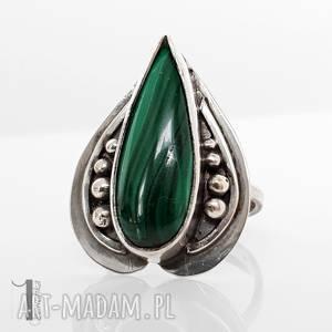 nelumbo zielony - srebrny pierścień z malachitem, pierścionek