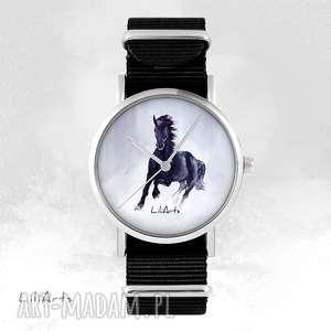 Prezent Zegarek - Czarny koń czarny, nato, unisex, zegarek, bransoletka,