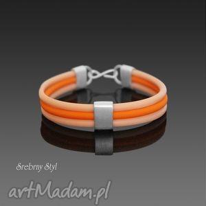 hand made bransoletki postaw na kolor - nude z pomarańczą
