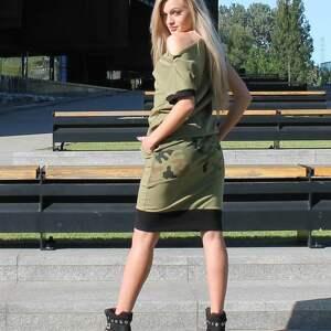 bluzka i spódnica moro, spódnica-moro, spódnica-khaki, komplet-khaki