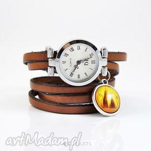 ręcznie zrobione zegarki bransoletka, zegarek - kotki brązowy