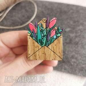 hand-made broszki broszka list miłosny