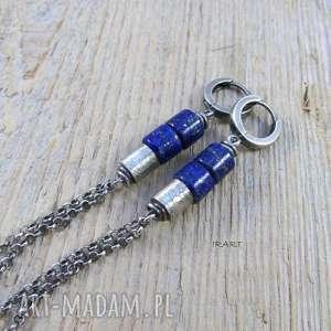 satynowe walce z lapis lazuli - kolczyki, lapis, lazuli, srebro, kolczyki