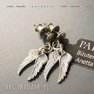 srebro, kolczyki srebrne aniołki, skrzydła, wkrętki