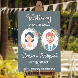 ręcznie robione księgi gości plakat powitalny gości weselnych 50x70 cm - portret pary młodej