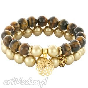 golden pearl tiger eye with pendant bead - perła, tygrysie, oko, kwiatek bi 380 uteria