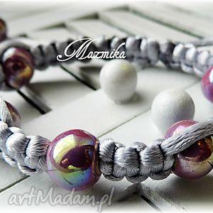 Porcelanka fioletowa- bransoletka makramowa