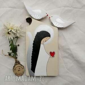 dekoracje anioł z sercem na podziękowanie - obraz malowany desce sękiem 1