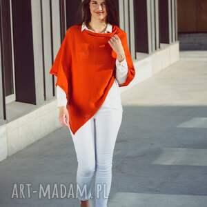 handmade poncho ponczo basic z dzianiny - pomarańczowe