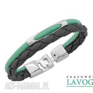 Bracelet in mint and gray. - ,mięta,rzemień,bransoleta,