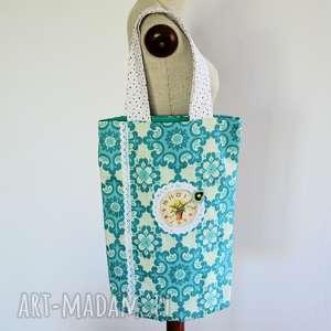 torba na zakupy - zegar wśród kwiatów, torba, zegar, kobieta, ramię, folk