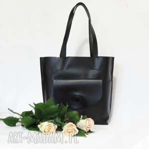 hand-made na ramię skórzana torebka typu shopper otwarta