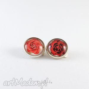 Prezent Klipsy - Czerwone różyczki, klipsy, róże, grafika, retro, unikat, prezent