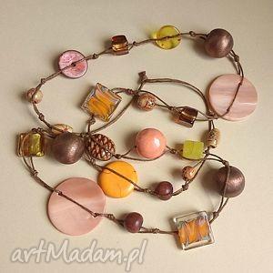 abricot - długie, ceramika, drewno, korale, naszyjnik