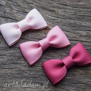 spinki do włosów kokardki, spinki, spineczki, komplet, różowe, ombre