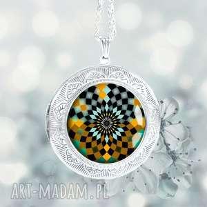 naszyjniki otwierany medalion na łańcuszku magic mosaic mandala, sekretnik